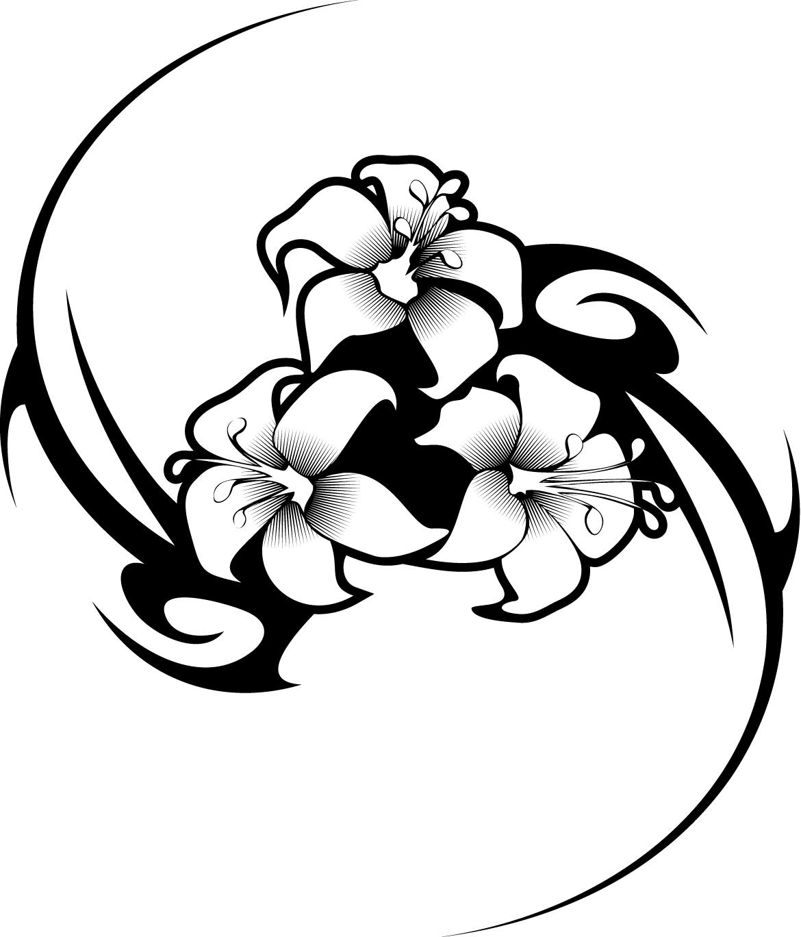 Drawn hibiscus long flower  tattoo coloring Pages state