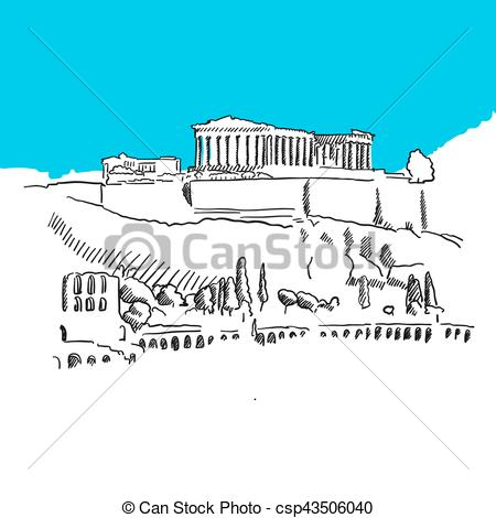 Drawn hill clip art Of Greece EPS Hill Greece