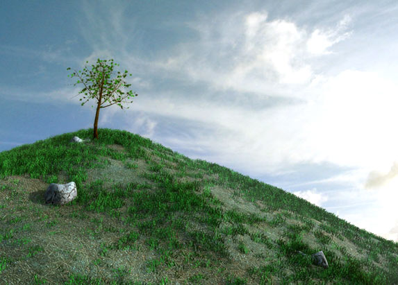 Drawn hill grassy hill On GRASS top tree RESOURCES: