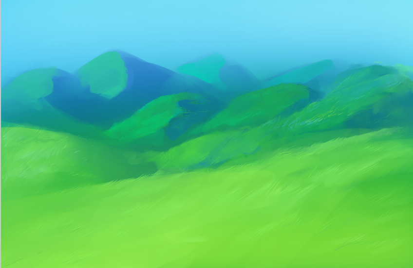 Drawn hill grassy hill How Digitally To texture Paint