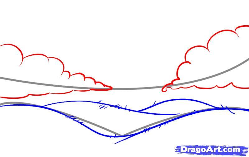 Drawn hill rolling hills Draw  3 step &