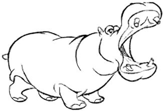 Drawn hippo #14