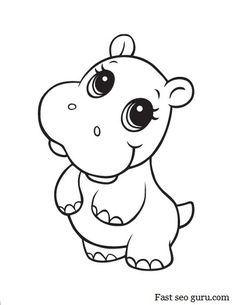 Adorable clipart baby hippo Cute Free Clipart Animal