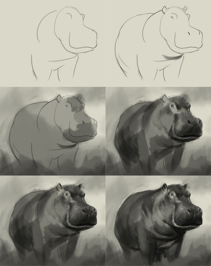 Drawn rhino hippo Digital draw  to drawing