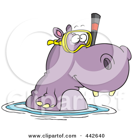 Drawn hippo water cartoon In water clipart in water