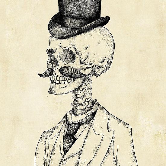 Drawn skeleton abstract Vintage Skull vintage gentleman retro