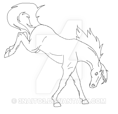 Drawn horse bucking On Bucking lineart 3Naito3 by