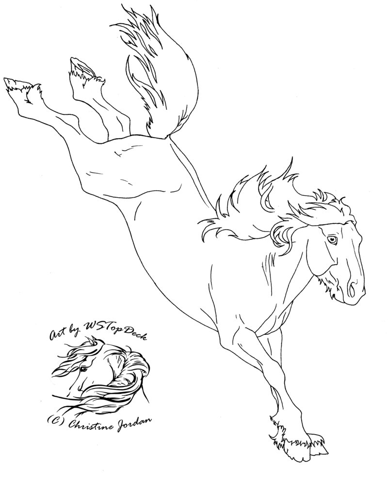 Drawn horse bucking DA WSTopDeck by for for
