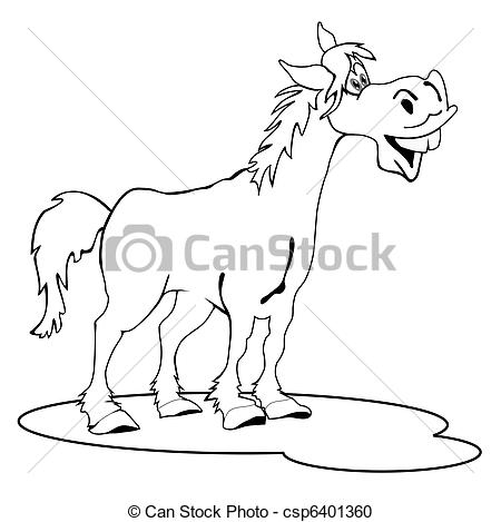 Drawn horse funny Line Funny drawings csp6401360 Vector