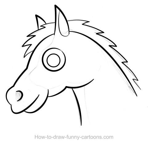 Drawn horse funny Vector) Horse drawing Horse drawing