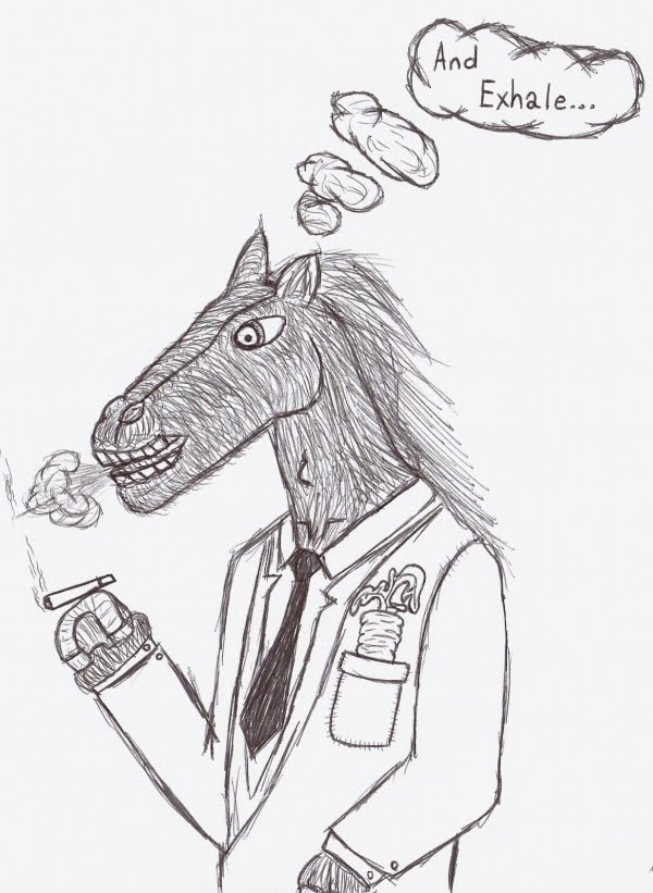 Drawn horse funny Collection Funny World Smoking Drawing