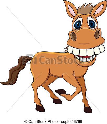Drawn horse funny Vector  Funny illustration csp8846769