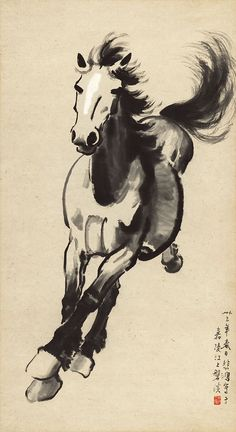 Drawn horse japanese horse By chinois Xu painting Beihong