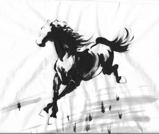 Drawn horse japanese horse Horse Pinterest Paintings Ink images