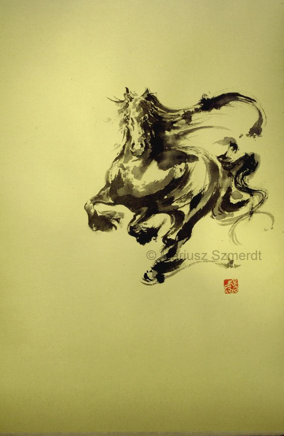 Drawn horse japanese horse By 160 Asianature stamped zł400