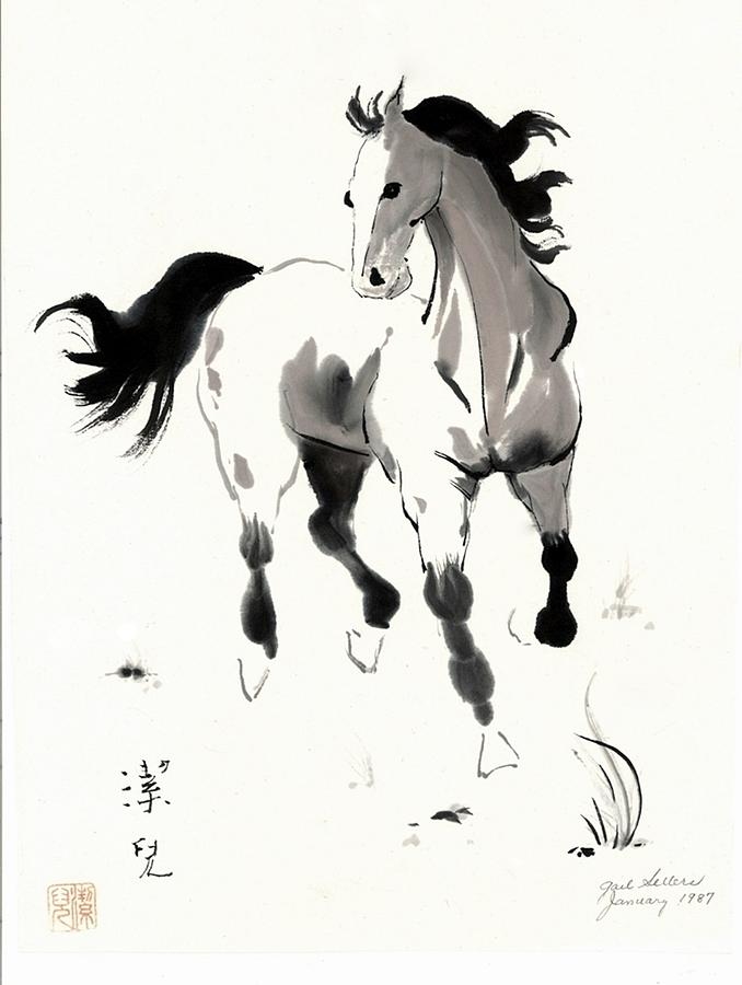 Drawn horse japanese horse Art Sellers by Canvas Gail