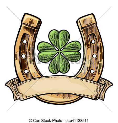 Drawn horseshoe four leaf clover Ribbon clover clover luck with