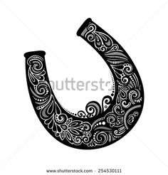Drawn horseshoe hand Vector Drawing on this