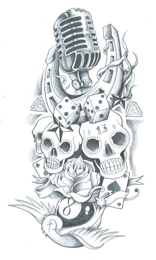 Drawn microphone skull Stencil Tattoo Microphone School Old