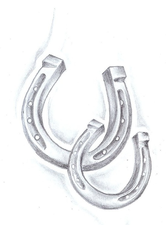 Drawn horseshoe wrist Simply tangled around it with