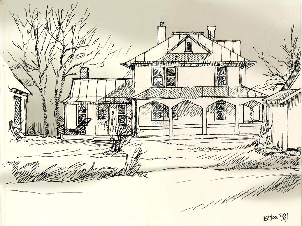 Drawn hosue farm house Sketch Drawing – Modern house