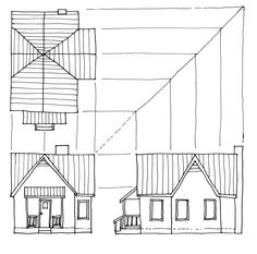 Drawn hosue side view And  Multi Orthographic orthographic