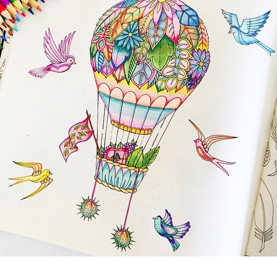 Drawn hot air balloon Hot birds balloon whimsical forest