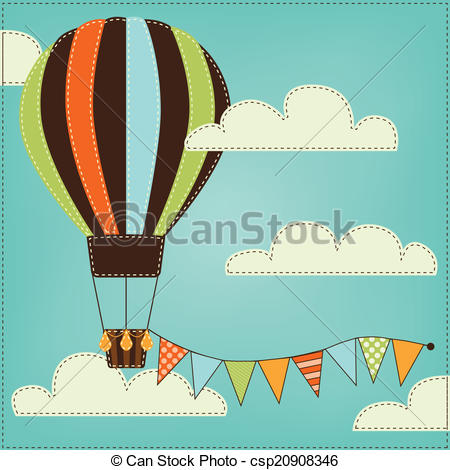 Clouds clipart retro Air Vintage balloon retro clouds