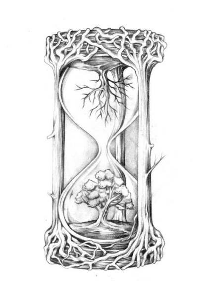 Drawn hourglass Hourglass of drawn Hand