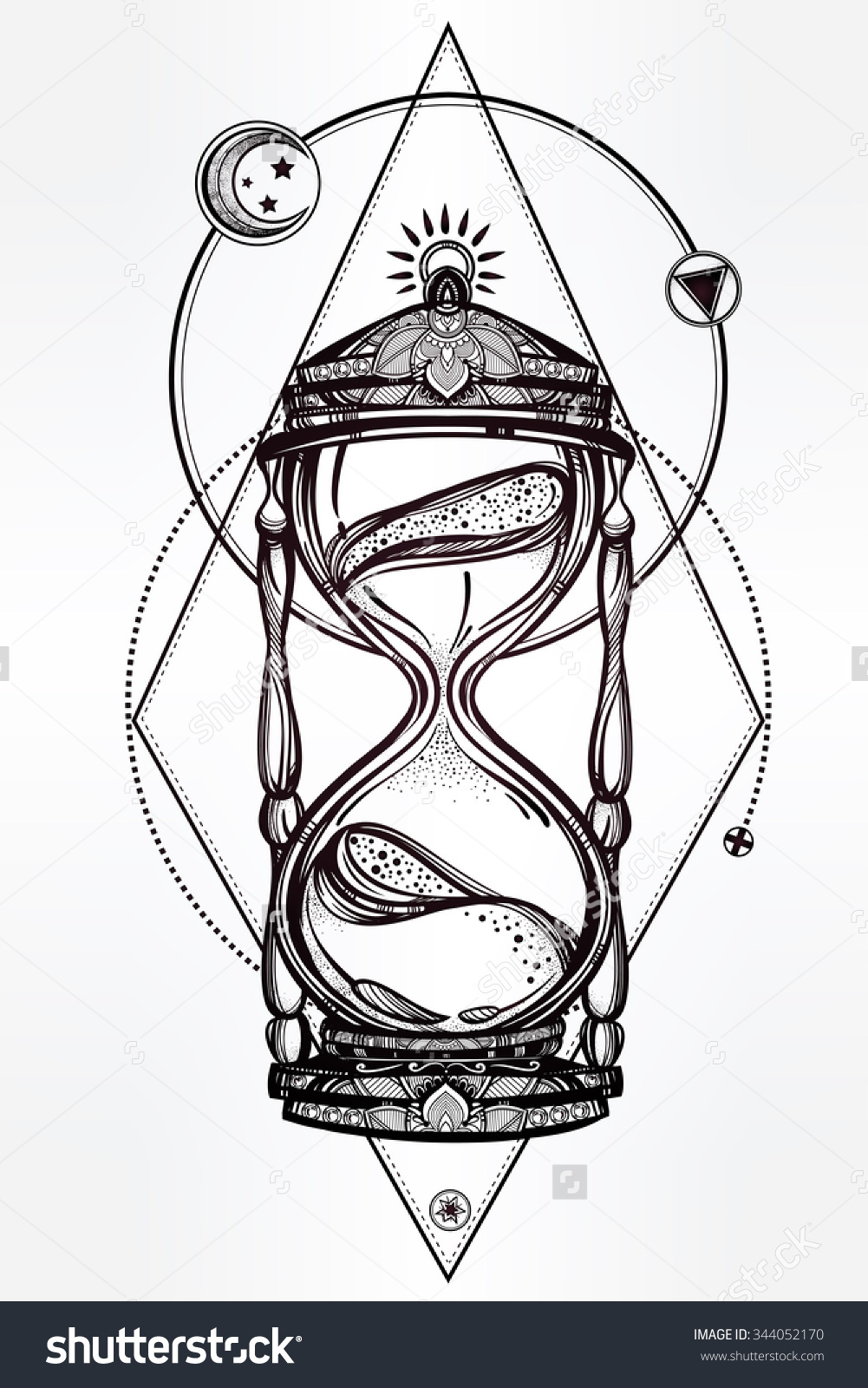 Drawn hourglass Hourglass  Vector beautiful a