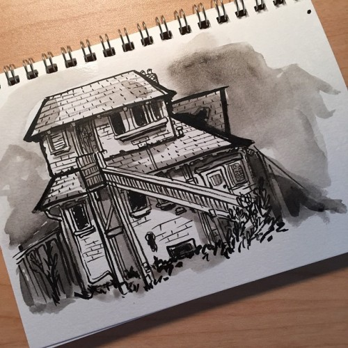 Drawn house abandoned house To way house demolishing the