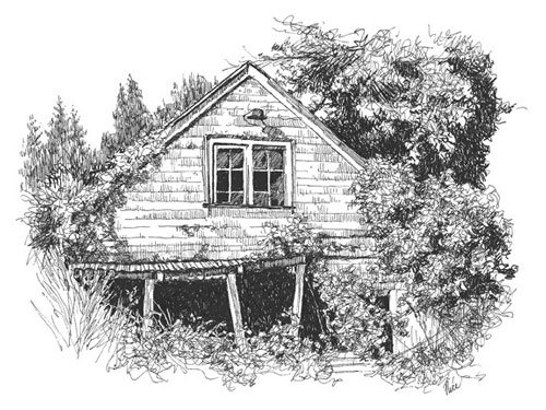 Drawn house abandoned house Entry Up for Homework Too