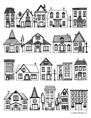 Drawn hosue black and white Art Houses Page Coloring Meditation