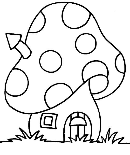 Drawn hosue colouring book Page: on DrawingHouse ideas Mushroom