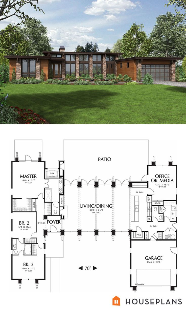 Drawn house contemporary house Com 476 Modern Modern houseplans