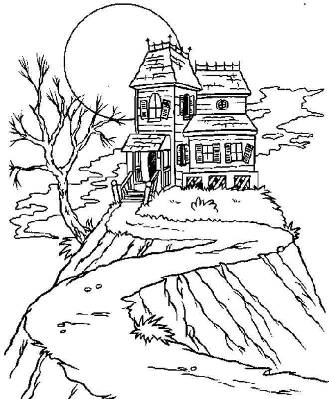 Drawn house horror house Hill house house coloring castle