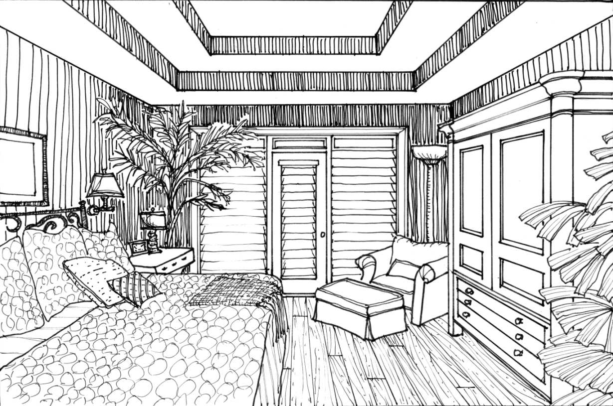 Drawn bedroom inside house #10
