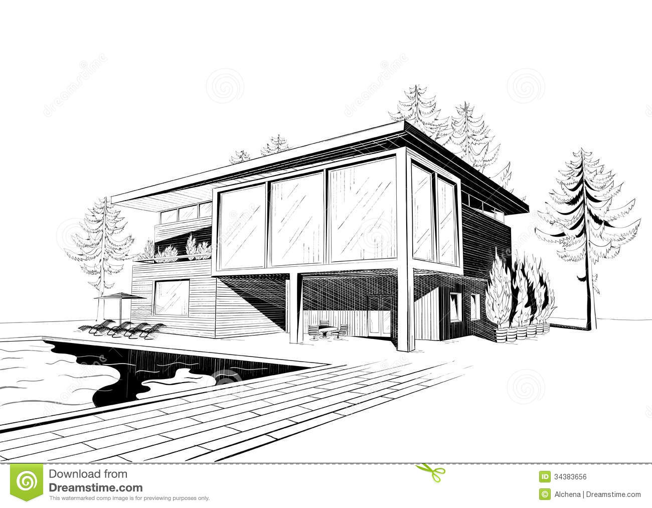 Drawn house modern architectural design House New · Simple Sketches