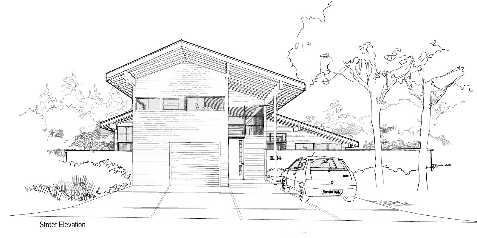 Drawn house modern architectural design Decorating Sketches · Architecture 416644