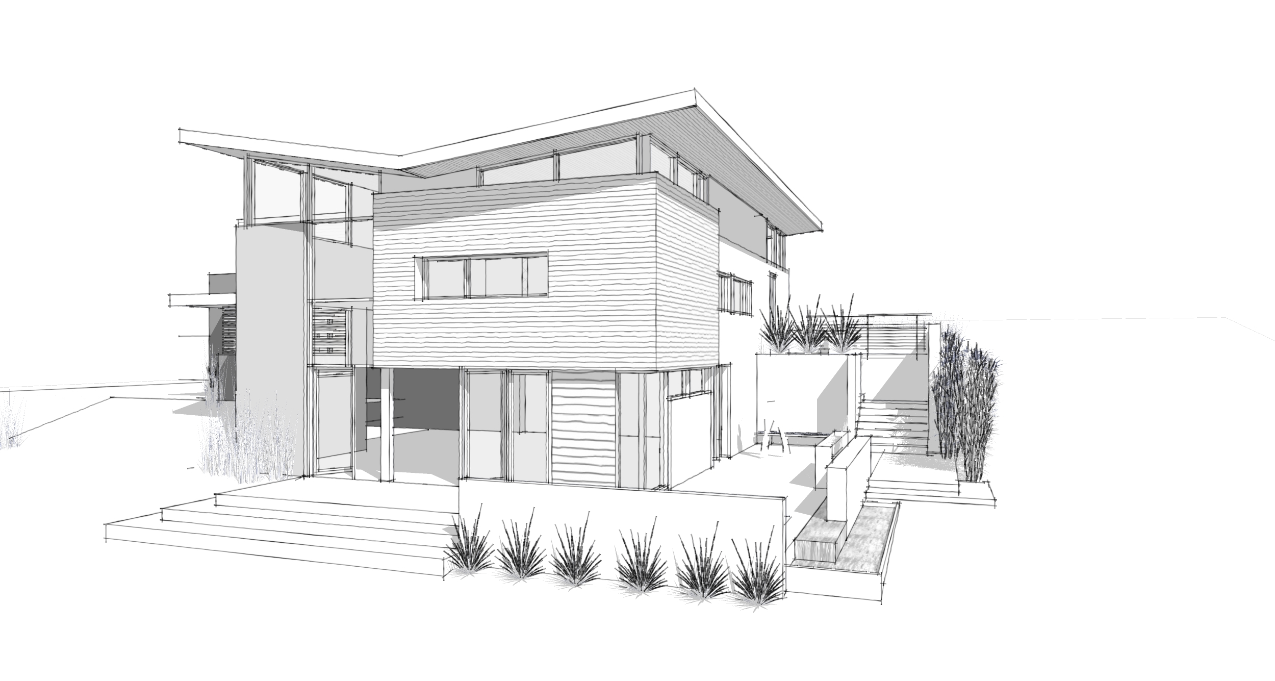 Drawn house modern architectural design Modern  on this Sketches