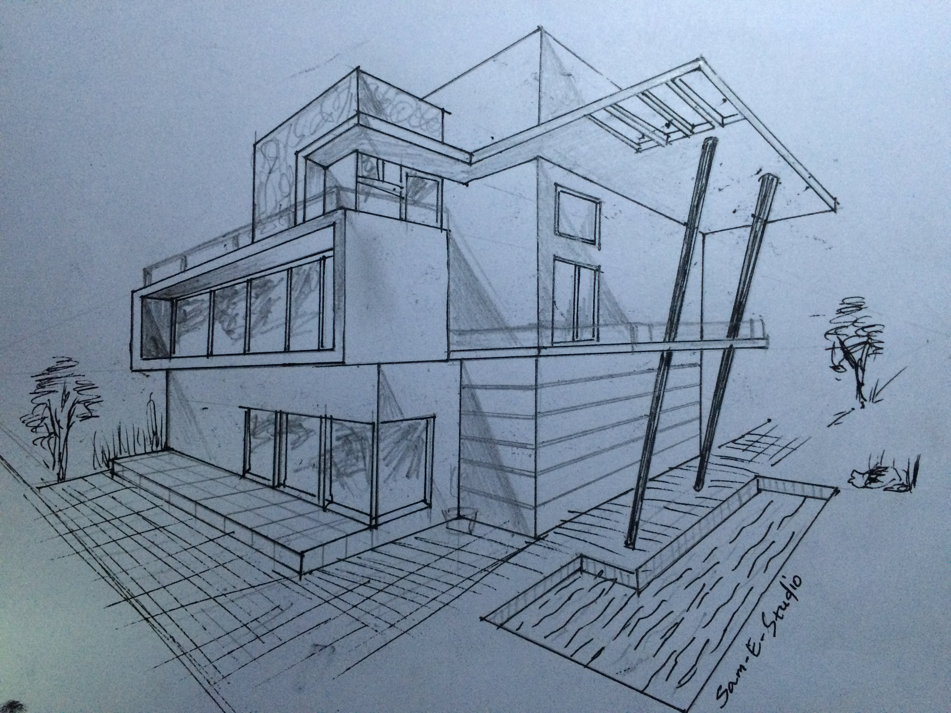 Drawn house modern architectural design (2 ARCHITECTURE PERSPECTIVE HOUSE MODERN