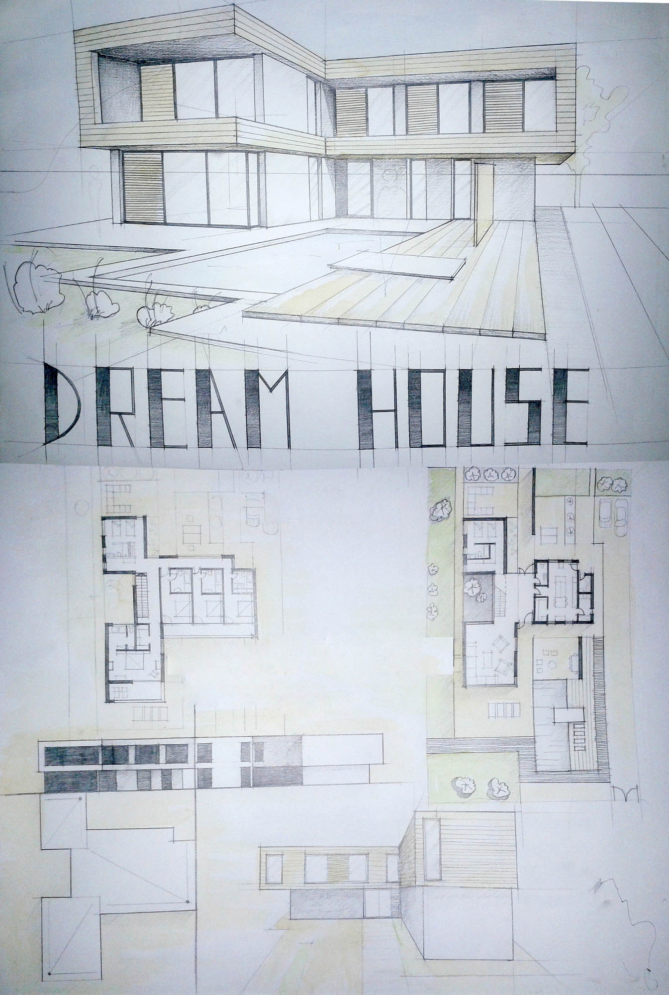 Drawn house modern architectural design Plans Plans House Perspective Architecture