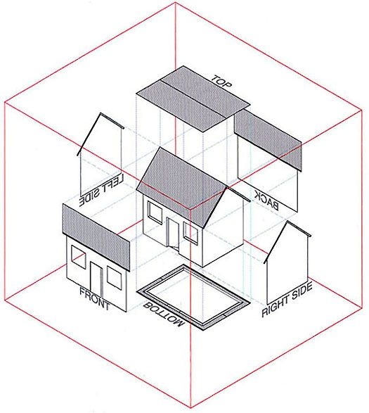 Drawn hosue side view Best on simple Orthographic drawing