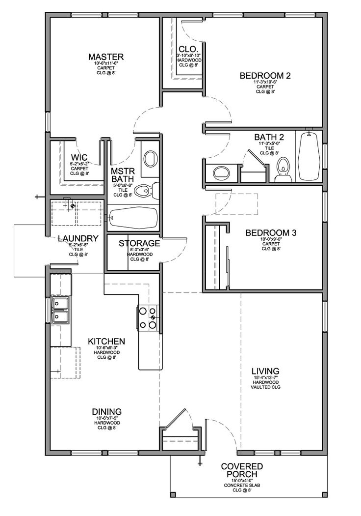 Drawn bedroom house Plan with One Bedrooms bedroom