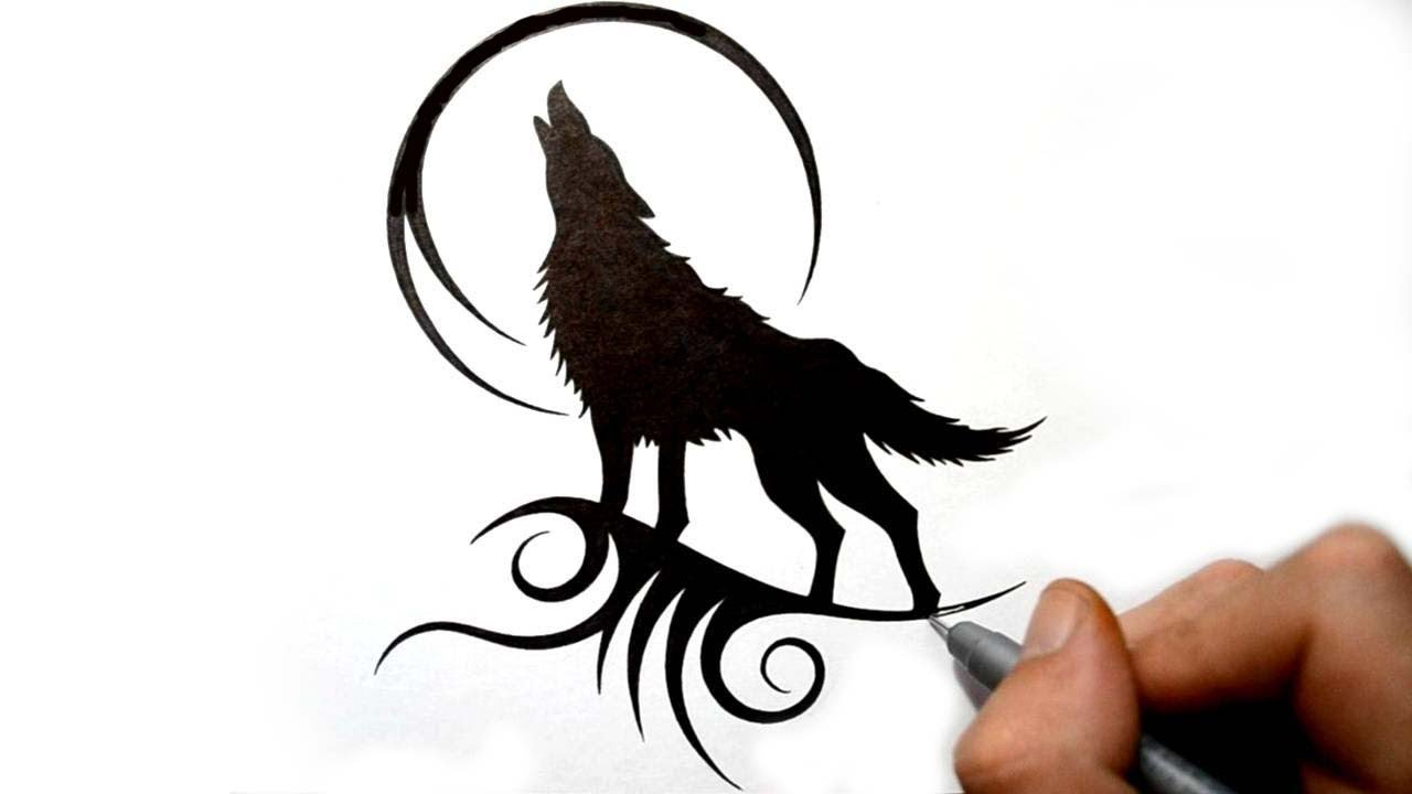Drawn howling wolf Tattoo Drawing Wolf Tribal Silhouette