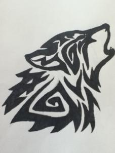 Drawn howling wolf bear Howling tribal to 6 step