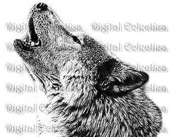 Drawn howling wolf bear Art PNG Howling Moon Prints