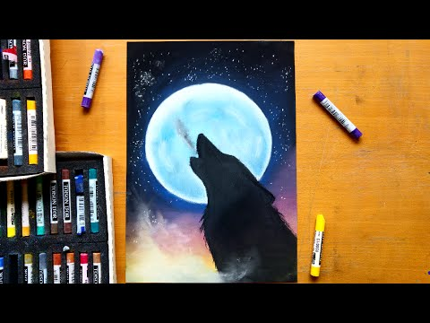 Drawn howling wolf cat Leontine  howling Drawing a