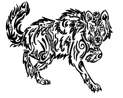 Drawn howling wolf cat On tribal walking howl wolf