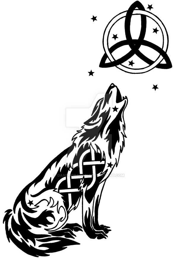 Drawn howling wolf celtic wolf Wolf Moon Starry Celtic And